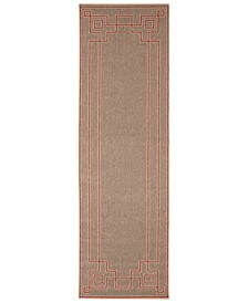 "Alfresco ALF-9633 Rust 2'3"" x 7'9"" Runner Area Rug, Indoor/Outdoor"