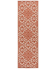"Alfresco ALF-9636 Rust 2'3"" x 7'9"" Runner Area Rug, Indoor/Outdoor"