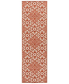 "Surya Alfresco ALF-9636 Rust 2'3"" x 7'9"" Runner Area Rug, Indoor/Outdoor"