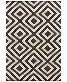 "Alfresco ALF-9639 Black 5'3"" x 7'6"" Area Rug, Indoor/Outdoor"
