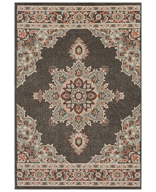 Surya Alfresco ALF-9671 Black 6' x 9' Area Rug, Indoor/Outdoor