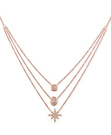 "Nude™ Diamond Triple Layer 24"" Pendant Necklace (7/8 ct. t.w.) in 14k Rose Gold"