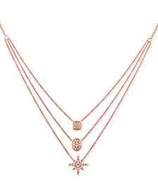 "Le Vian® Nude™ Diamond Triple Layer 24"" Pendant Necklace (7/8 ct. t.w.) in 14k Rose Gold"