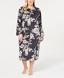 Miss Elaine Plus Size Printed Fleece Long Zip Robe