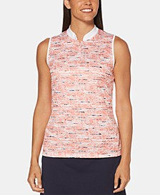 Printed Mandarin-Collar Sleeveless Golf Polo