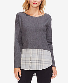Vince Camuto Layered-Look Plaid-Hem Top