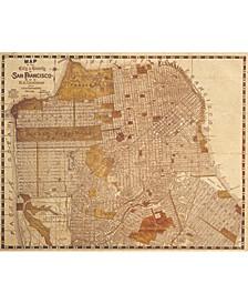 "Vintage San Francisco Map Sepia 24"" X 36"" Canvas Wall Art Print"