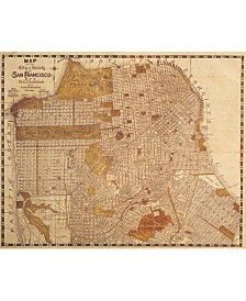 "Vintage San Francisco Map Sepia 24"" X 36"" Canvas Wall Art Print"