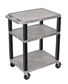 "Offex 34""H Tuffy AV Cart with Three Shelves - Gray Shelves/Black Legs"