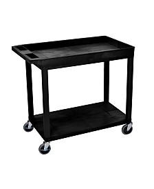 "Offex 32"" x 18"" One Tub/One Flat Shelf Utility Cart - Black"