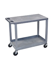 "Offex Multipurpose 32"" x 18"" One Tub/One Flat Shelves Utility Cart - Gray"