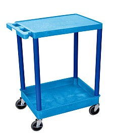 Offex Flat Top and Tub Bottom Shelf Utility Cart - Blue Shelves/Blue Legs