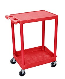 Offex Flat Top and Tub Bottom Shelf Cart - Red