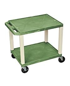 Clickhere2shop Multipurpose Utility AV Cart 2 Shelves Putty Legs