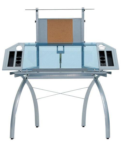 Clickhere2shop Futura Tower - Silver / Blue Glass