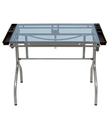 Folding Craft Station Silver / Blue Glass