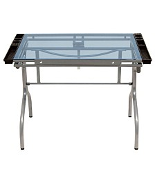 Offex Folding Craft Station Silver / Blue Glass