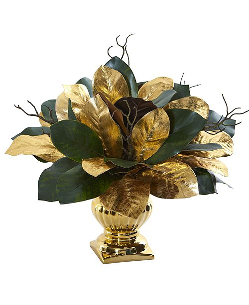 Nearly Natural 18-In. Magnolia Leaf Artificial Arrangement in Gold Planter
