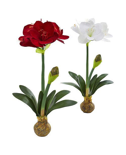 Nearly Natural 25-In. Amaryllis Artificial Flower, Set of 2