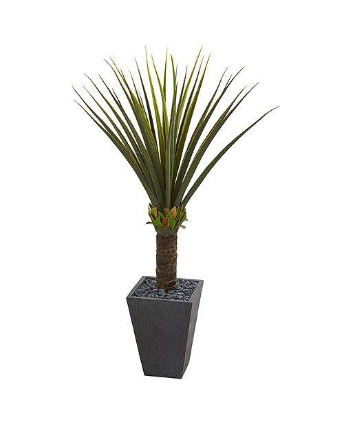 Nearly Natural Agave Artificial Plant in Slate Finished Planter