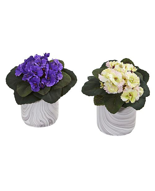 Nearly Natural African Violet Artificial Plant in Marble Vase, Set of 2