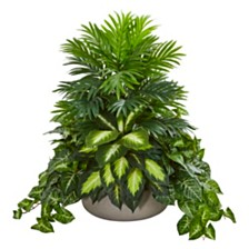 Nearly Natural Mixed Greens Artificial Plant in Stone Planter