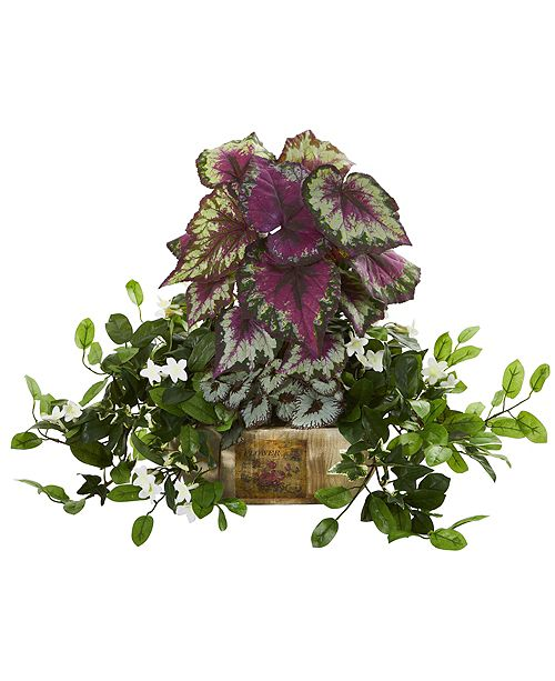 Nearly Natural Begonia and Stephanotis Artificial Plant in Decorative Planter