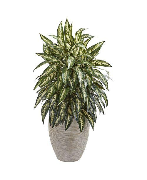 Nearly Natural Aglaonema Artificial Plant in Sand Colored Planter