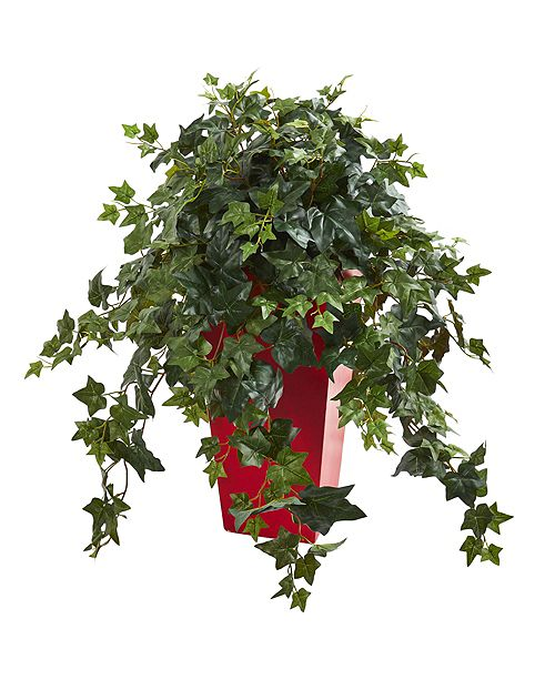 Nearly Natural Ivy Artificial Plant in Red Planter