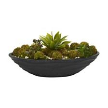 Nearly Natural Agave and Succulent Garden Artificial Plant in Black Planter