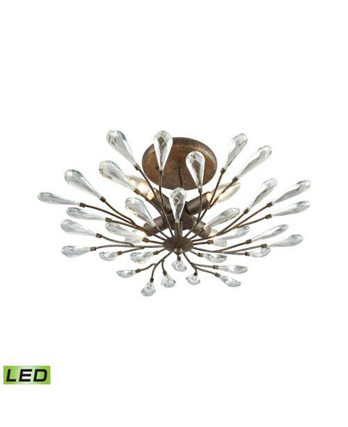 ELK Lighting Crislett 4 Light Semi Flush in Sunglow Bronze with Clear Crystal