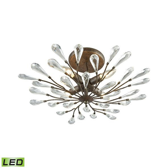 ELK Lighting Crislett 4 Light Semi Flush in Sunglow Bronze with Clear Crystal