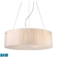 Modern Organics-5-Light Pendant in White Sawgrass Material in Polished Chrome