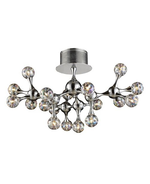 ELK Lighting Molecular Collection 18-Light Semi-Flush in Chrome with Rainbow glass