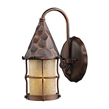 Rustica 1-Light Outdoor Wall Sconce in Antique Copper with Scavo Glass