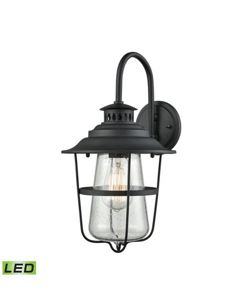 ELK Lighting San Mateo 1 Light Outdoor Wall Sconce in Textured Matte Black with Clear Seedy Glass