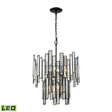 Lineo 6 Light Chandelier in Matte Black with Clear Crystal