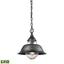 Stratham 1 Light Pendant in Silvered Graphite with Seedy Glass