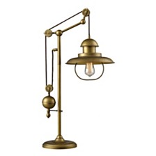 D2252 Farmhouse 1-Light Adjustable Table Lamp in Antique Brass