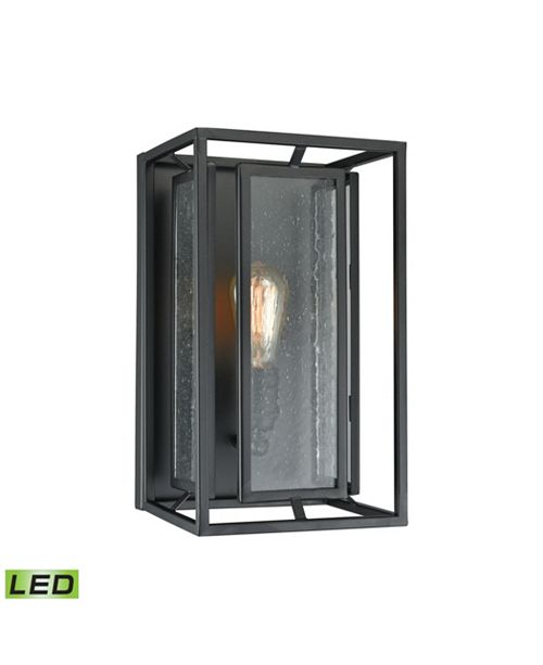 ELK Lighting Eastgate 1 Light Wall Sconce in Textured Black with Seedy Glass