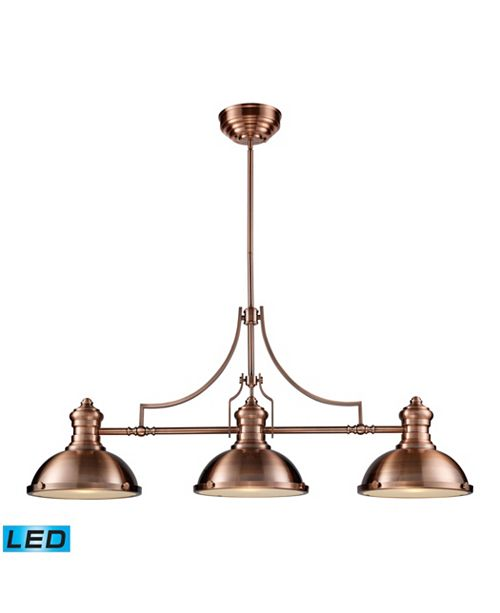 ELK Lighting Chadwick 3-Light Billiard/Island Light in Antique Copper - LED, 800 Lumens (2400 Lumens Total) With