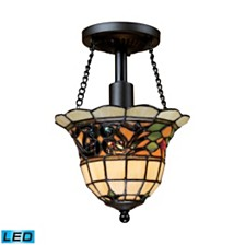 Tiffany Buckingham 1-Light Semi-Flush in Vintage Antique - LED Offering Up To 800 Lumens (60 Watt Equivalent)
