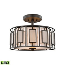 Minden 2 Light Semi Flush in Tiffany Bronze with Mica and Frosted Seedy Glass