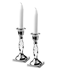 """Classic Touch 6"""" Tall Candle Holder with  Crystal Glass Stem- Set of 2"""