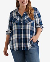90d5560a8059c Lucky Brand Trendy Plus Size Plaid Shirt