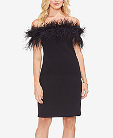 Vince Camuto Feather Off-The-Shoulder Dress