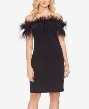 Feather Trim Off The Shoulder Dress in Rich Black