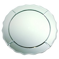 Jay Import Mirror Glass Scallop Edge Charger Plate