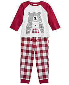 First Impressions Baby Boys Bear Graphic T-Shirt & Buffalo-Check Jogger Pants Separates, Created for Macy's