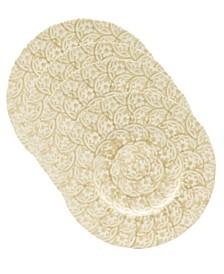 Euro Ceramica Chloe 4 Piece Beige Floral Accent Dessert Plate Set